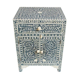 Bone Inlay Blue Side Cabinet For Sale