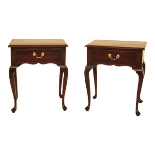 Kittinger Queen Anne Mahogany 1 Drawer Nightstands - a Pair