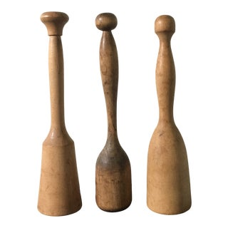 Collection of Vintage Wooden Mashers- a Set of 3 For Sale