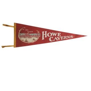 Vintage Howe Caverns Felt Flag Pennant For Sale