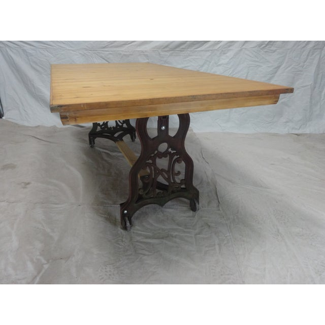 Mid-Century Modern Antique Swedish Iron Base Dining Table For Sale - Image 3 of 6