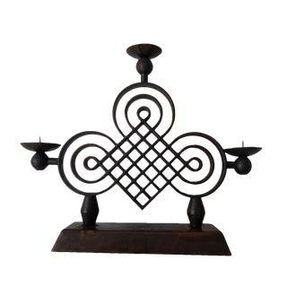 1930s French Art Deco Design Candelabra Wrought Iron Gilbert Poillerat Three Light For Sale