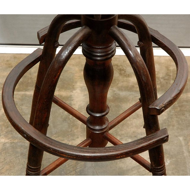 Caning Revolving High Clerks Stool For Sale - Image 7 of 8