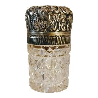 Antique Bird & Floral Sterling Silver Cut Glass Dresser Vanity Jar For Sale