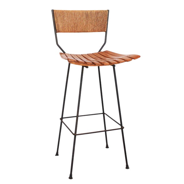 Iron, Raffia and Bentwood Bar Stool by Arthur Umanoff - Image 1 of 4