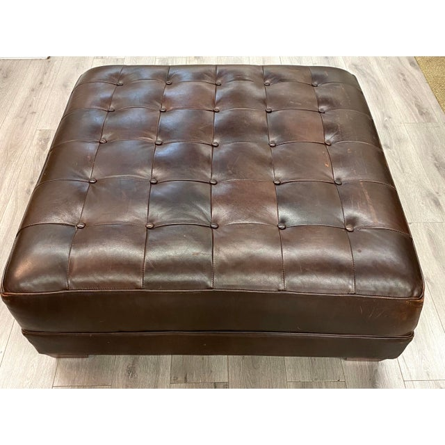 Contemporary Lee Industries Large Brown Leather Square Ottoman Coffee Table For Sale - Image 9 of 9