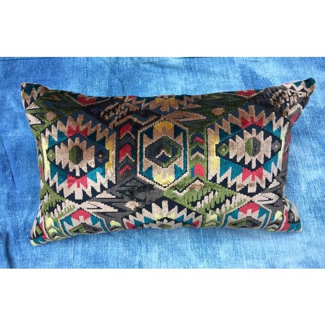Art Deco-Style Tribal Velvet Pillow - Image 2 of 7