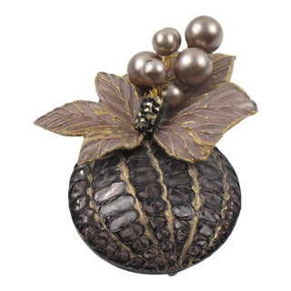 Cilea Paris Floral Gray Resin Pin Brooch With Purple Pearl For Sale