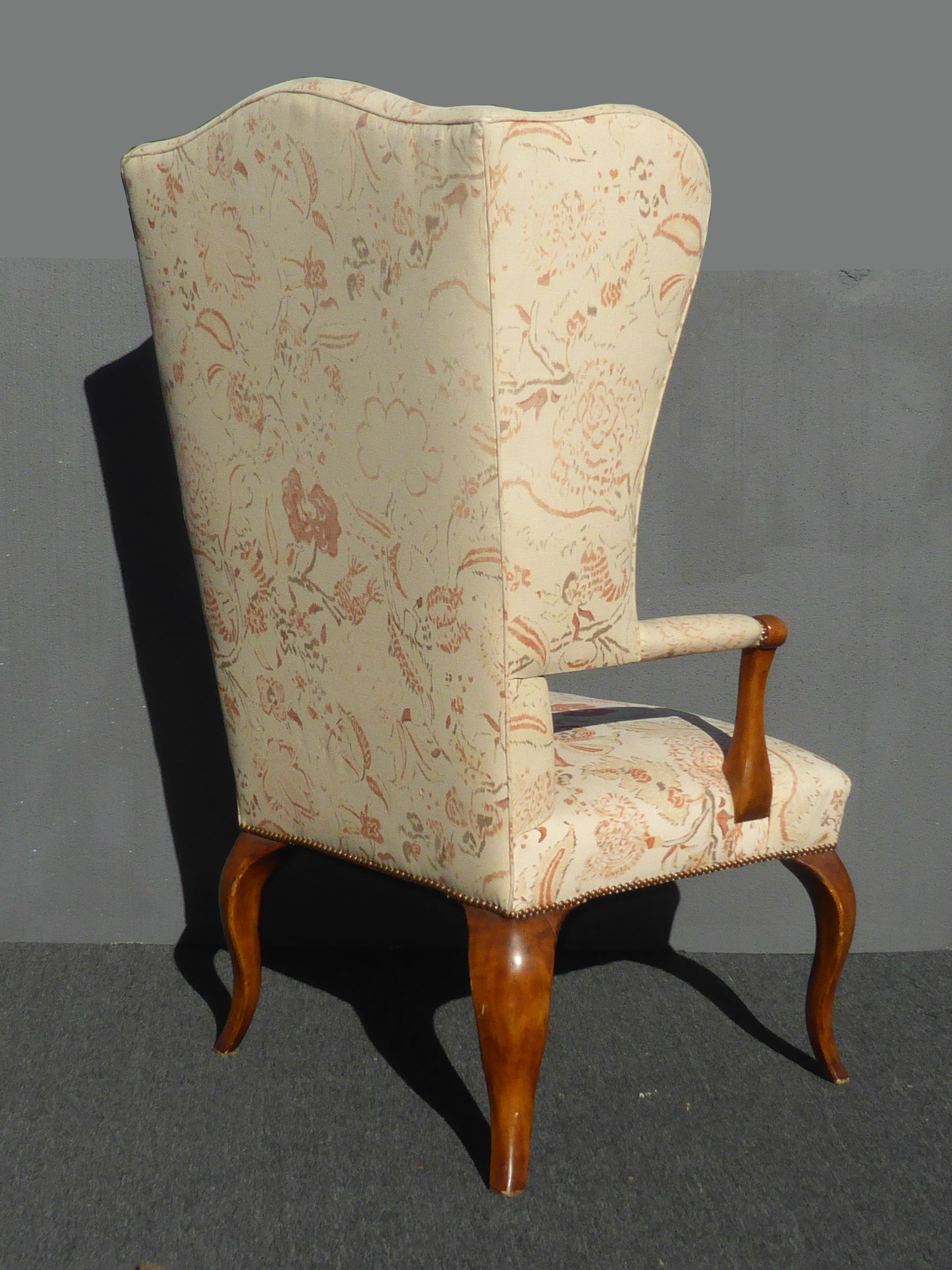Superb Unique Vintage French Country Floral Throne Wingback Accent Chair   Image 4  Of 12