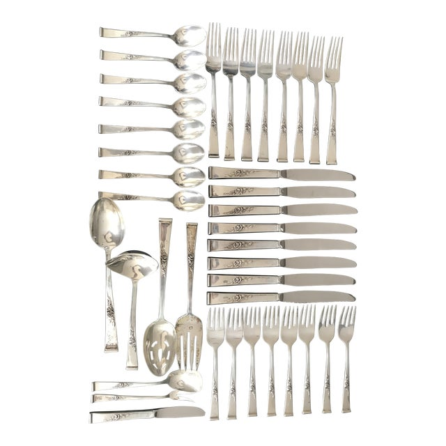 Reed & Barton, Classic Rose Sterling Silver Flatware With Serving Pieces, Place Settings for 8 For Sale