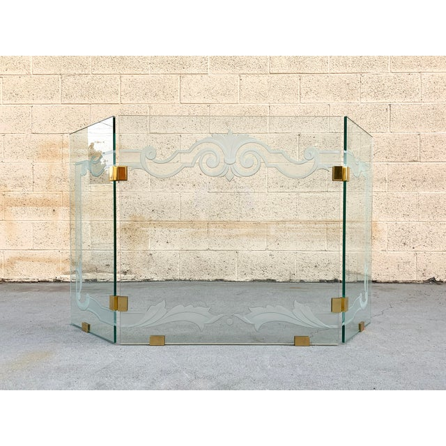 Transparent Glass Fireplace Screen With Brass Hinges by Danny Alessandro, Custom Etching For Sale - Image 8 of 8