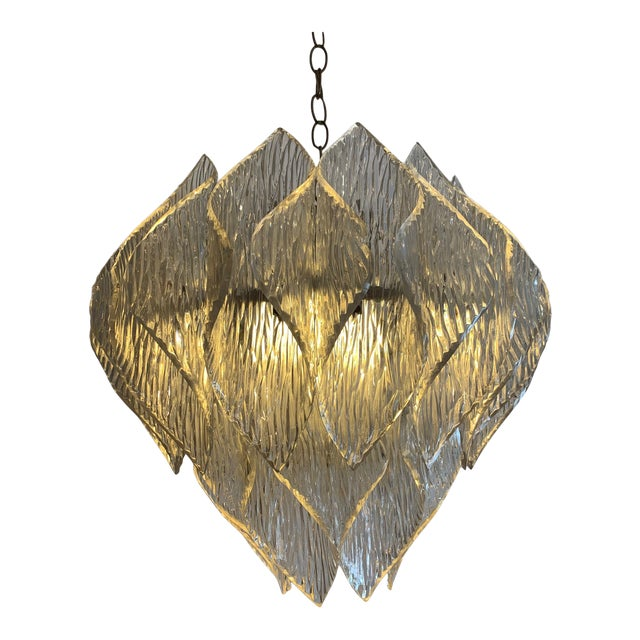 Mid Century Modern Lucite Chandelier With Layered Petals For Sale