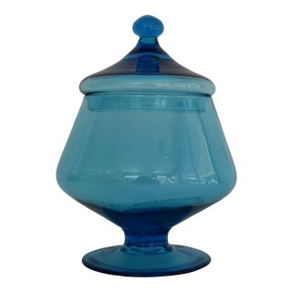 1960s Mid-Century Modern Blue Pedestal Apothecary Jar or Compote Candy Jar with Lid For Sale