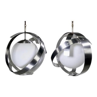 Mid-Century Brushed Aluminum and Glass Pendants Attributed to Sonneman - a Pair For Sale