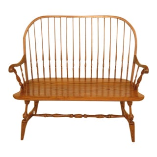 Hitchcock Solid Oak Windsor Settee Bench For Sale