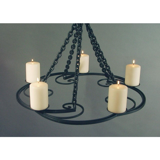 1920s Wrought Iron Art Deco Chandelier With Beeswax Candles For Sale In San Francisco - Image 6 of 8