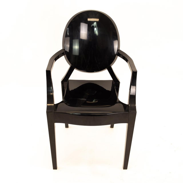 Kartell Mid Century Black Acrylic Ghost Dining Chairs - Set of 4 For Sale - Image 10 of 11