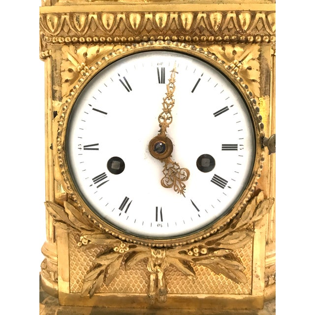 1776 Antique French Bronze Mantel Clock For Sale - Image 4 of 10