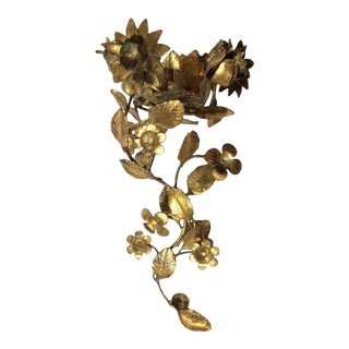 Vintage Gold Gilt Flowers and Leaves Tole Candle Sconce For Sale