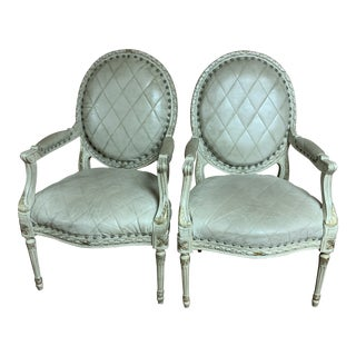 Councill French Louis XVI Style Paint Frame Fauteuil Arm Chairs - a Pair For Sale