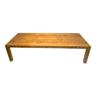 1970s Hollywood Regency Milo Baughman for Thayer Coggin Burl Wood Dining Table For Sale