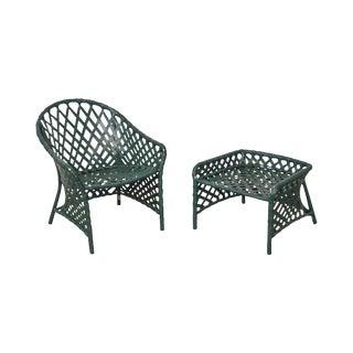 Brown Jordan Green Vinyl Strap Patio Lounge Chair & Ottoman Stool For Sale
