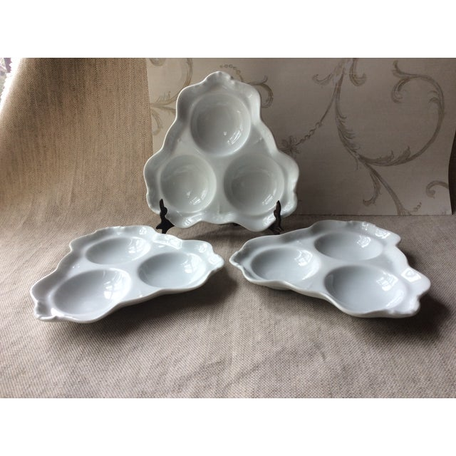 Antique Bistro Style Porcelain Oyster Plates - Set of 3 For Sale - Image 9 of 10