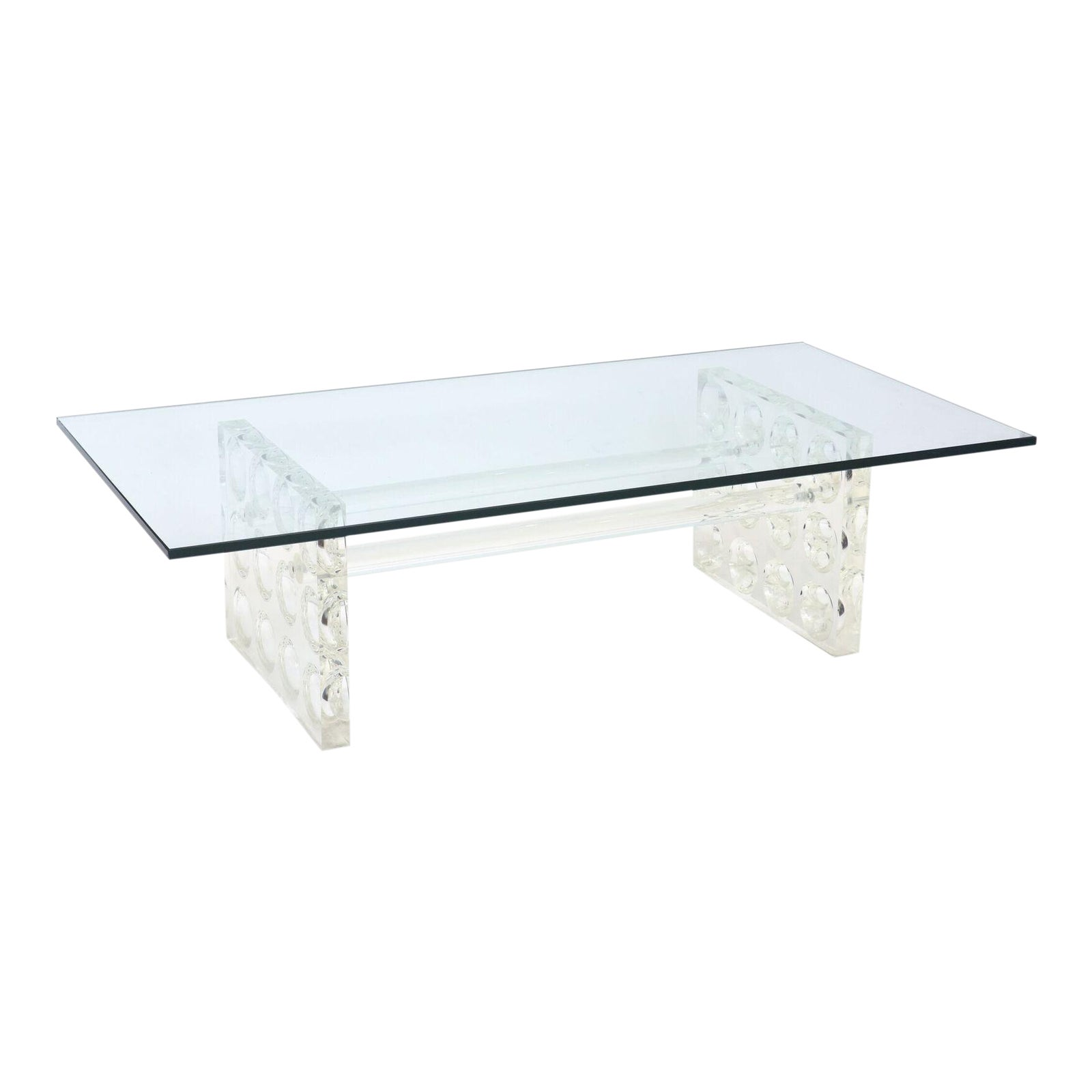 Lovely American Modern Lucite And Glass Low Table, Charles Hollis