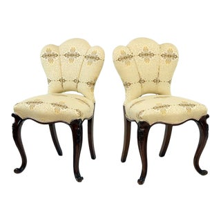 Vintage Victorian Upholstered Chairs- A Pair For Sale