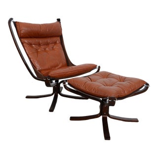 Vatne Mobler Leather Falcon Chair & Ottoman For Sale