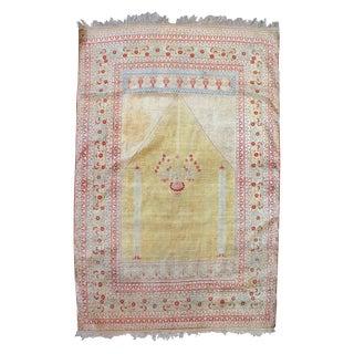 Persian Silk Tabriz Prayer Rug - 4′1″ × 5′7″ For Sale