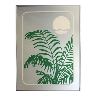 1970s Vintage John Lee Tropical Palm Printed Sunset Mirror For Sale