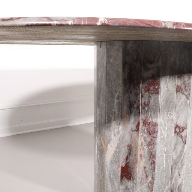 Oval Salome Marble Pedestal Dining Table, Italy, 1970s For Sale - Image 12 of 13
