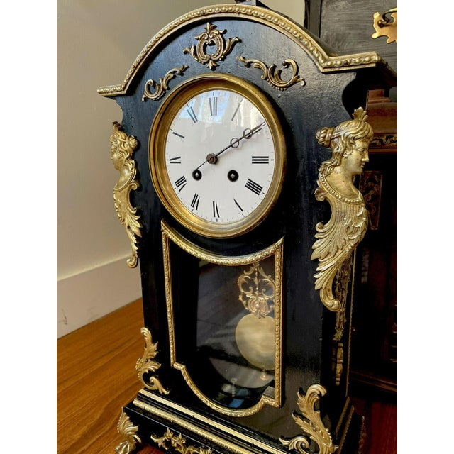 Antique Mid 19th Century French Mantel Clock With Case For Sale - Image 9 of 11