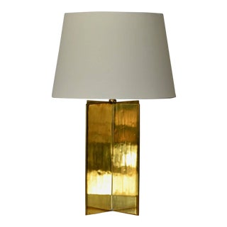 Croisillon' Polished Brass and Parchment Table Lamp by Design Frères For Sale