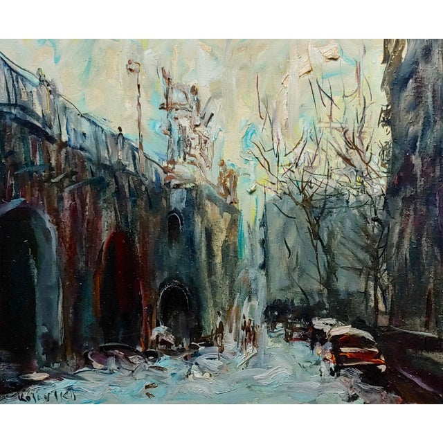 "Kosinski - City Street siding a Bridge - Oil painting oil painting on canvas- Signed frame size 32 x 28"" canvas size 23 x..."