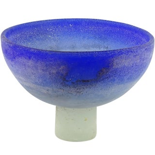 Cenedese Murano Blue White Scavo Texture Italian Art Glass Compote Bowl Vase For Sale