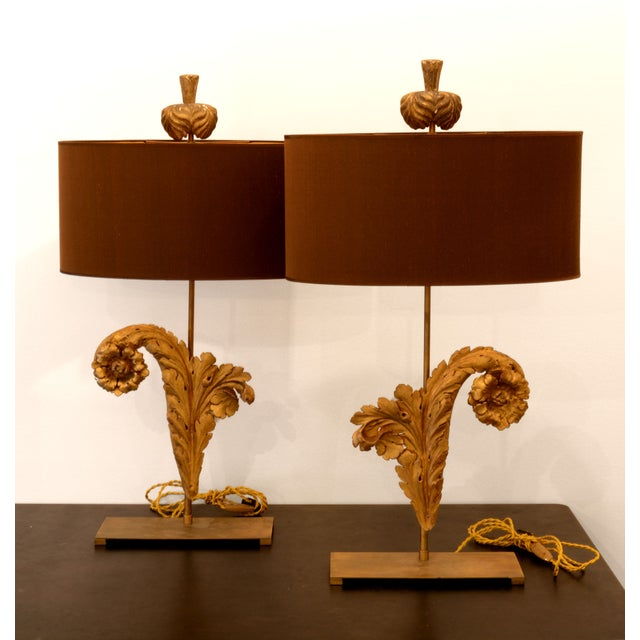 French Acanthus Leaf Lamps - A Pair - Image 2 of 5
