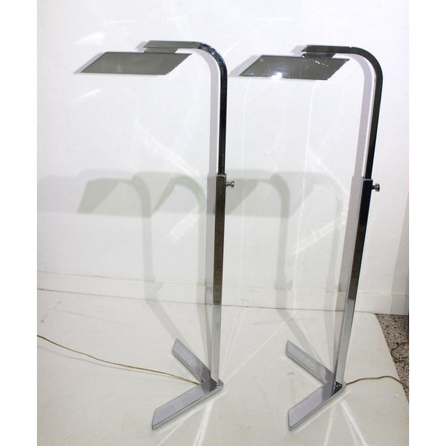 Vintage Casella Style Chrome Floor Lamps - a Pair For Sale In West Palm - Image 6 of 13