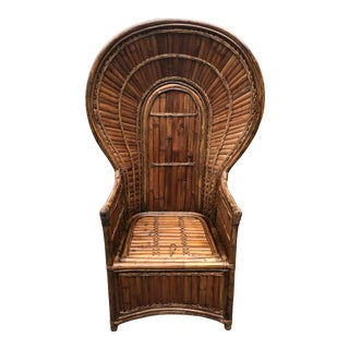 Scuptural High Back Bamboo and Rattan Peacock Chair For Sale