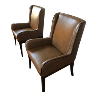 Leather Wingback Contemporary Armchairs - a Pair For Sale