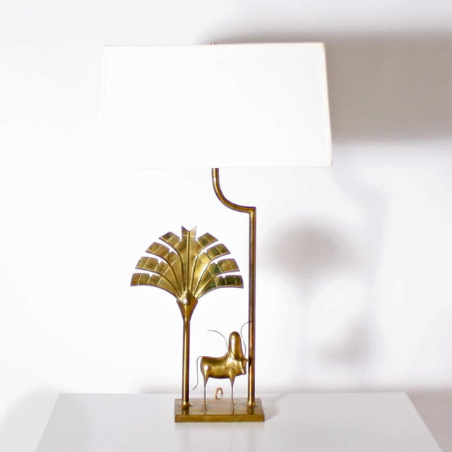 1970s Brass Lamp With Brass African Cow Detail, C. 1970 For Sale - Image 5 of 5