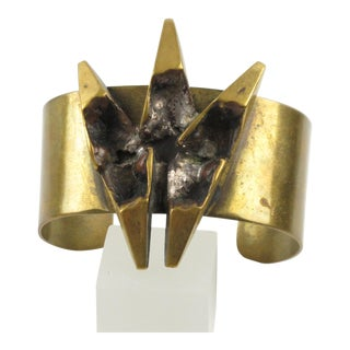 French Artist Henri Nogaret Brutalist Bronze Cuff Bracelet For Sale