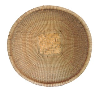 """Vintage 'Luzon Mountain' - Round Cane and Bamboo Grain Storage Bowl Basket or Tray 22"""" For Sale"""