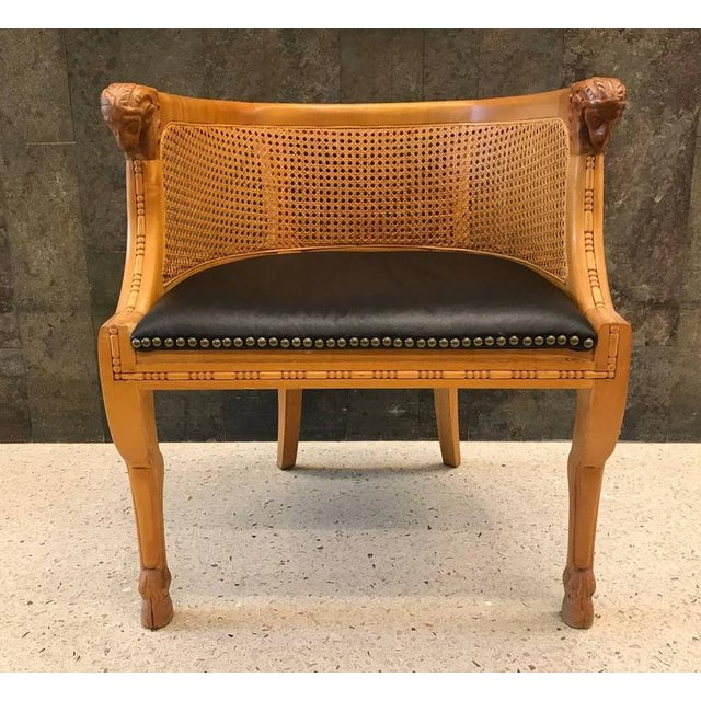 Neoclassical Pair of Neoclassical Style Rams Head Birchwood Bergeres Chairs For Sale - Image 3 of 7
