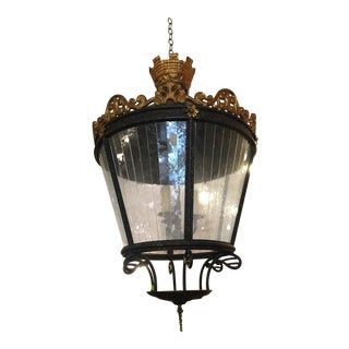 Unusual Huge Castle Wrought Iron Lantern Light Fixture