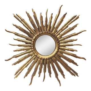 French Convex Sunburst Gilded Wood Mirror For Sale