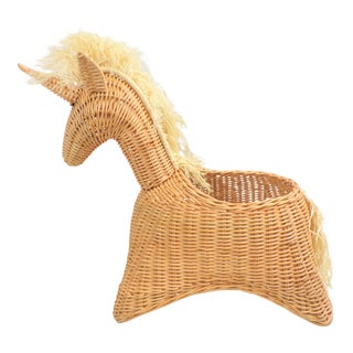Vintage Unicorn Wicker Rattan Large Basket For Sale