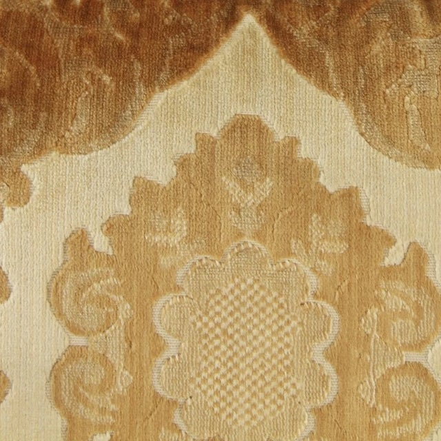 Saffron 1970s Vintage Damask Two-Piece Velvet Sofa For Sale - Image 8 of 10