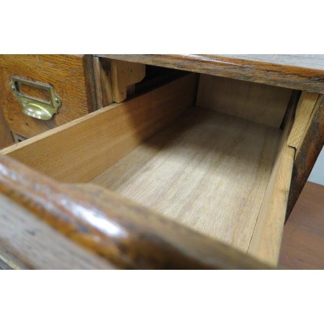 Wood Wood English Tiger Oak 4 Drawer Tabletop Card File For Sale - Image 7 of 10